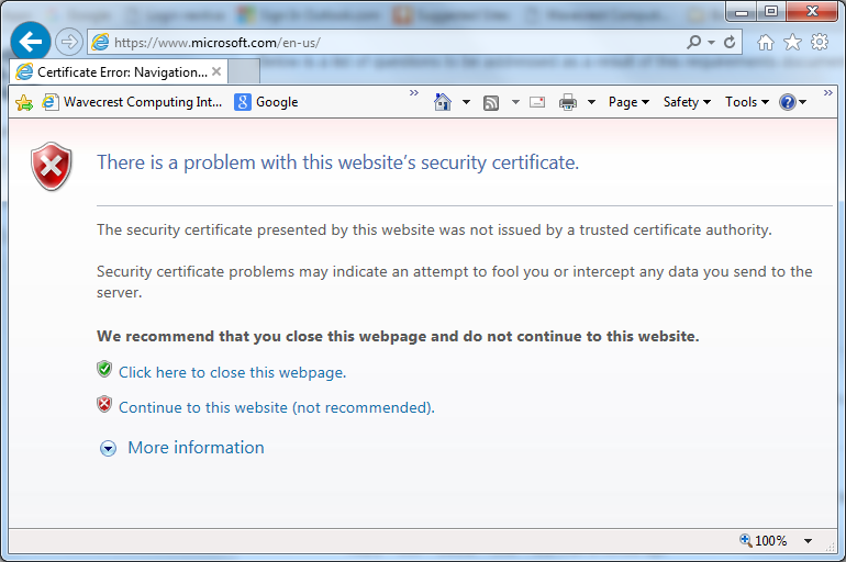 How to resolve certificate-issued errors in browser