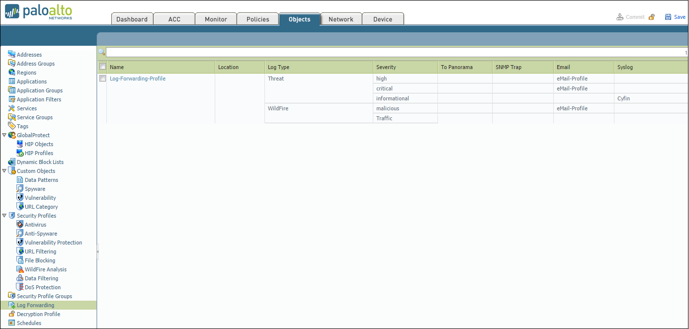 Forwarding Palo Alto Logs to Cyfin Syslog Server   Wavecrest